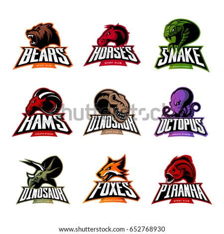 Shutterstock Bear, horse, snake, ram, fox, piranha, dinosaur, octopus head isolated vector logo concept. Modern badge mascot design. Premium quality wild animal, fish, reptile t-shirt tee print illustration.