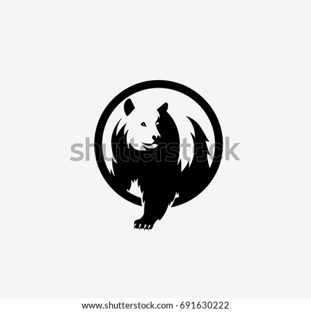 Bear icon, wild animal, emblem, loud and grizzly, white background, bear market, stock exchange, vector illustration