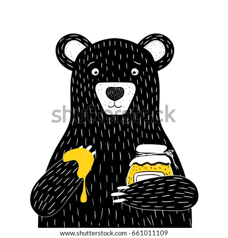 Bear illustration with bottle of honey vector illustration
