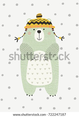 Bear in a hat. Vector illustration in Scandinavian style. Funny, cute poster.