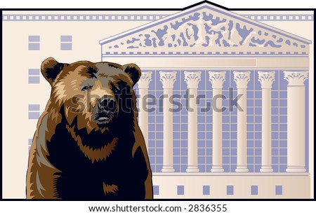Bear in front of the New York Stock Exchange building