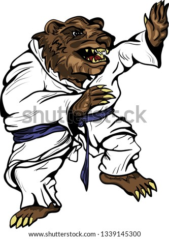Bear in kimono in fighting stance, can be used for wrestlers. judo, karate, sports images, fights.