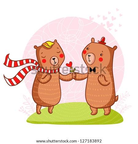 Bear in love. Cartoon romantic background in vector - stock vector