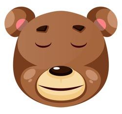 Bear is feeling calm, illustration, vector on white background.