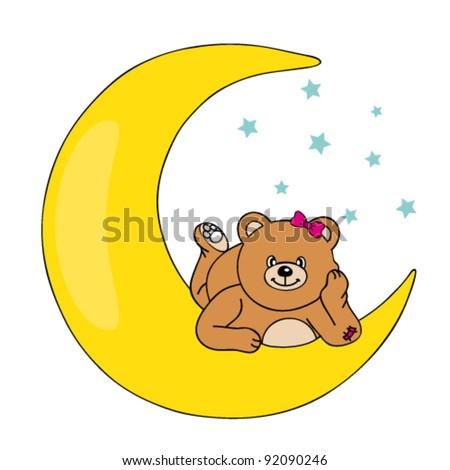 bear lying on the moon