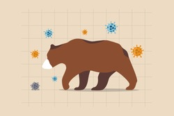 Bear market causing by Coronavirus COVID-19 world economic crisis, stock market crash by financial crisis concept, sad and depressed bear wearing face mask on stock price chart with virus pathogen.