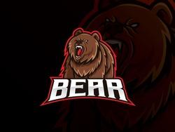 Bear mascot esport logo design. Bear animal mascot vector illustration logo. Wild grizzly bear mascot, Emblem design for esports team. Vector illustration