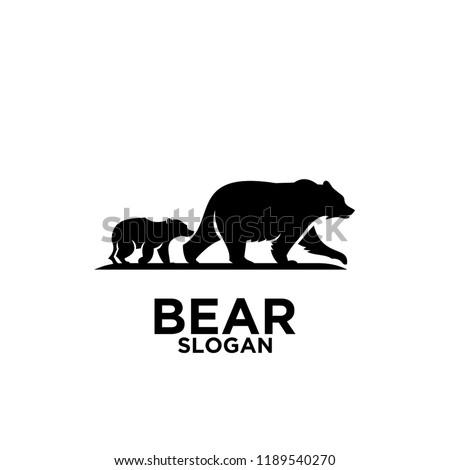 bear mom with child logo icon designs