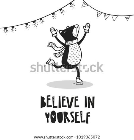 bear on skates poster for baby