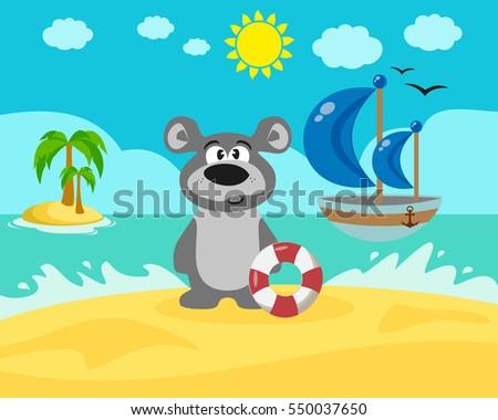 Bear on the beach. Vector illustration. #550037650