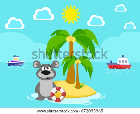 Bear on the island. Bathing. Summer. Sea. Vacation. Lifeline. Vector illustration.  #672095965
