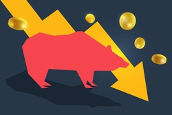 Bear or bearish icon with down arrow graph and bars. Concepts for share market of bull and bear stock market exchange or finance. Vector of Bear market downtrend stock market and trading chart.