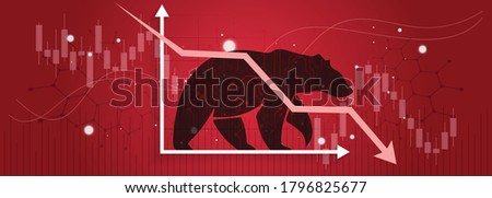 Bear or bearish market trend in crypto currency or stocks. Trade exchange background, down arrow graph for decrease in rates. Cryptocurrency price chart & blockchain technology. Global economy crash. Photo stock ©