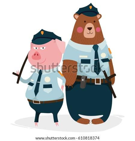bear  pig  policeman  character