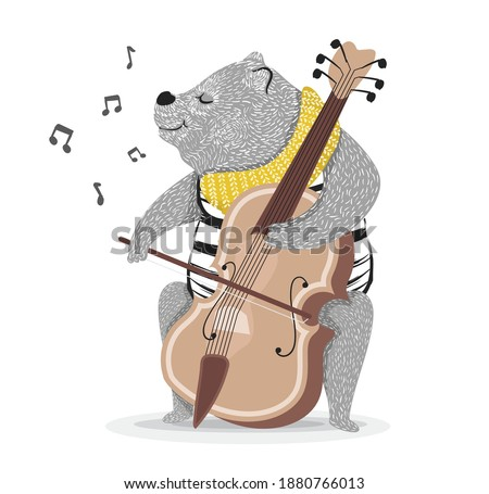 Bear Playing Cello, Cute Cartoon Animal Musician Character Playing Stringed Musical Instrument Vector Illustration.Can be used for t-shirt print,kids wear fashion design,baby shower invitation card.