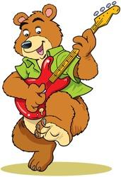 Bear plays guitar