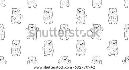 bear polar bear doodle vector Seamless wallpaper background