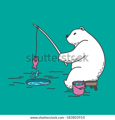 bear polar bear fishing