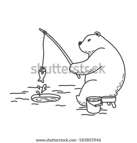 bear polar bear fishing
