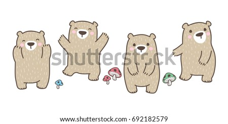 Bear Polar Bear mushroom vector icon doodle illustration
