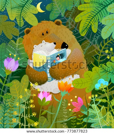 Stock Photo Bear reading book to cub. Good night fairy tale before going to bed. Vector illustration.