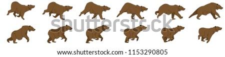 Bear run cycle animation sprite sheet