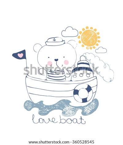 bear sailor vector illustration