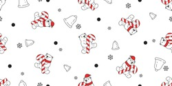bear seamless pattern Christmas polar bear vector Santa Claus hat candy cane bell snowflake scarf isolated repeat wallpaper teddy cartoon tile background illustration doodle design