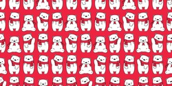 bear seamless pattern Christmas vector Santa Claus hat cartoon scarf isolated repeat wallpaper teddy tile background illustration doodle design