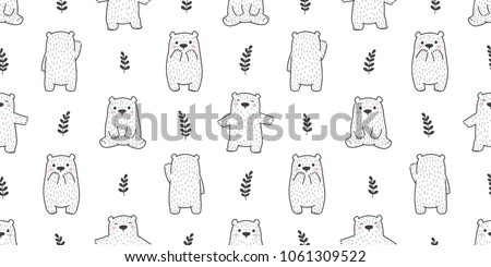 bear seamless pattern polar bear panda leaf forest doodle vector isolated background wallpaper
