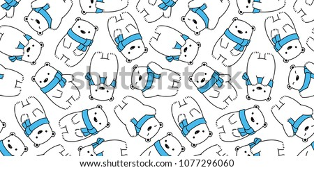 bear seamless pattern polar bear panda vector teddy scarf isolated background wallpaper