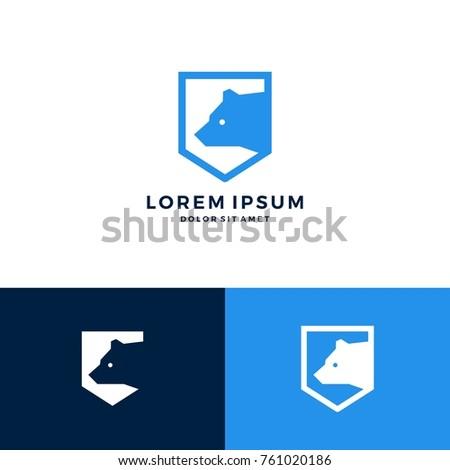 bear shield logo vector icon