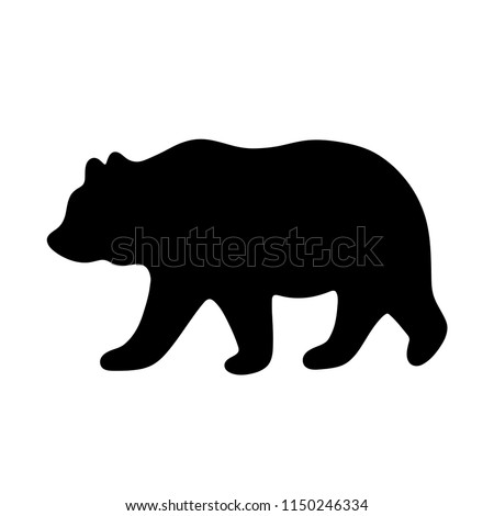Bear silhouette. Vector illustration isolated on white background for print and poster. Typography design.