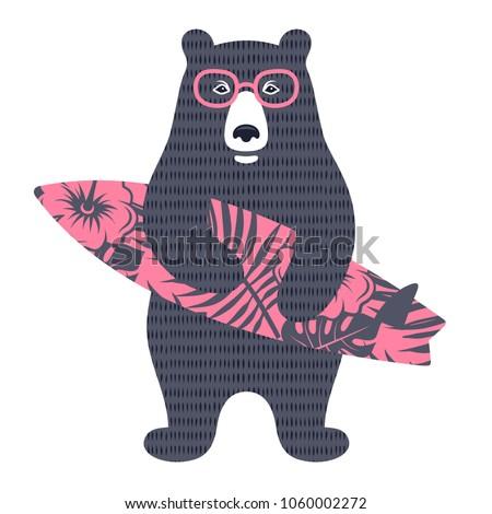 bear surfer vector illustration