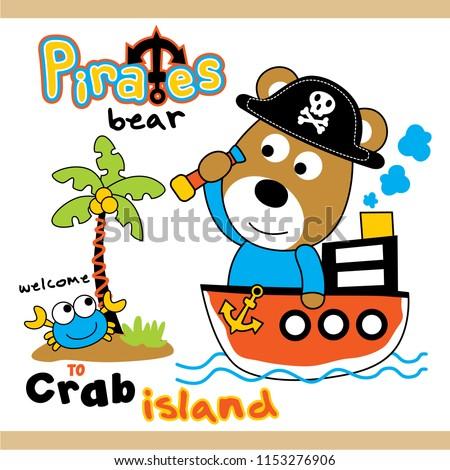 bear the pirates funny animal cartoon,vector illustration #1153276906