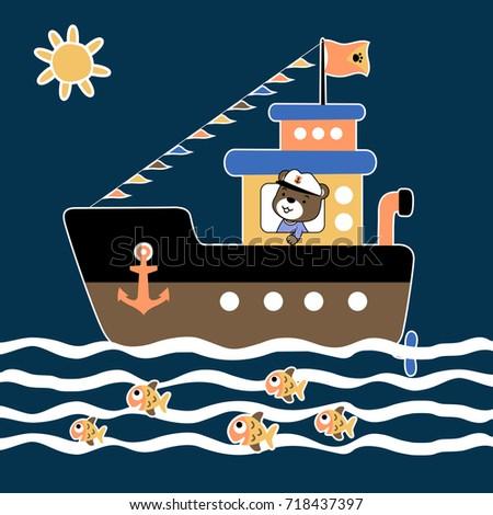 bear the sailor vector cartoon