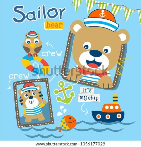 bear the sailorman funny animal cartoon,vector illustration #1056177029
