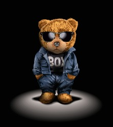 bear toy in fashion and sunglasses in stage lighting illustration