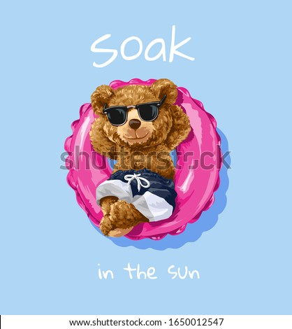 bear toy in sunglasses sitting in pink swim ring illustration