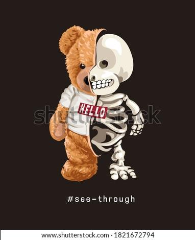 bear toy in t shirt half skeleton illustration on black background