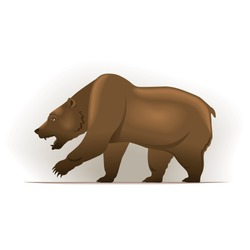 Bear vector illustration in color, financial theme ; isolated on background.