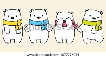 bear vector polar bear panda logo icon scarf kid illustration character doodle cartoon