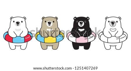 bear vector polar bear swimming