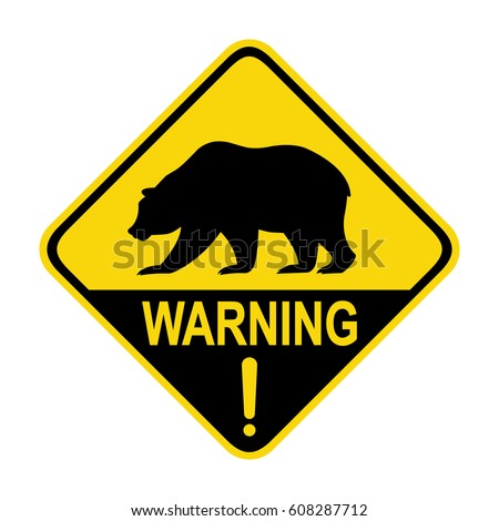 Bear warning sign, symbol, illustration