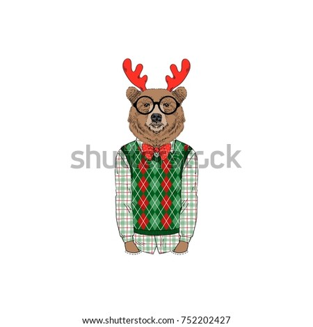 bear wearing  Merry Christmas outfits, furry art illustration