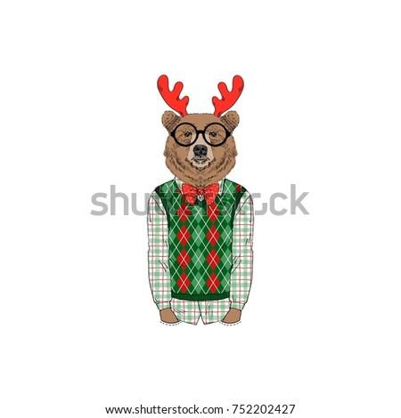 bear wearing  merry christmas