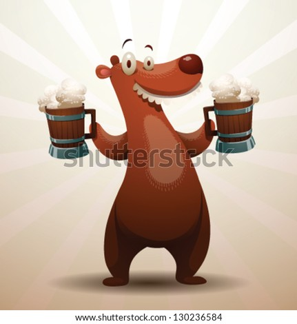 Bear with a beer 02 vector