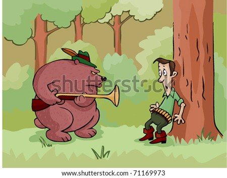 bear with a gun attacked a hunter in the woods - stock vector