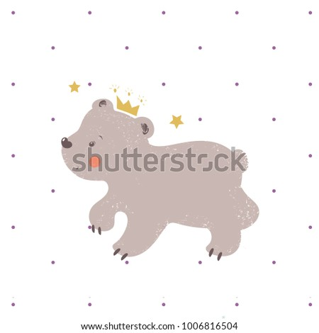Bear with crown.cartoon hand drawn vector illustration. Can be used for baby t-shirt print, fashion print design, kids wear, baby shower celebration greeting and invitation card.