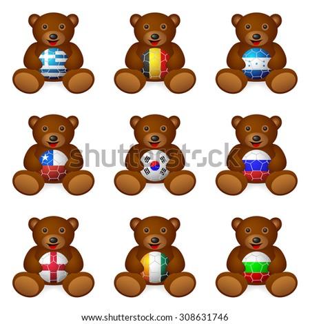 bear with soccer ball flag on a